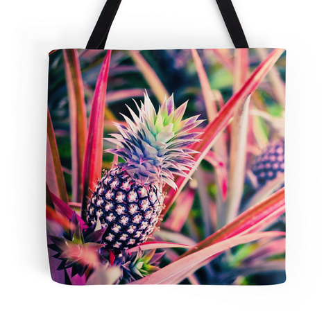 Purple Hawaiian Pineapple Tote Bag