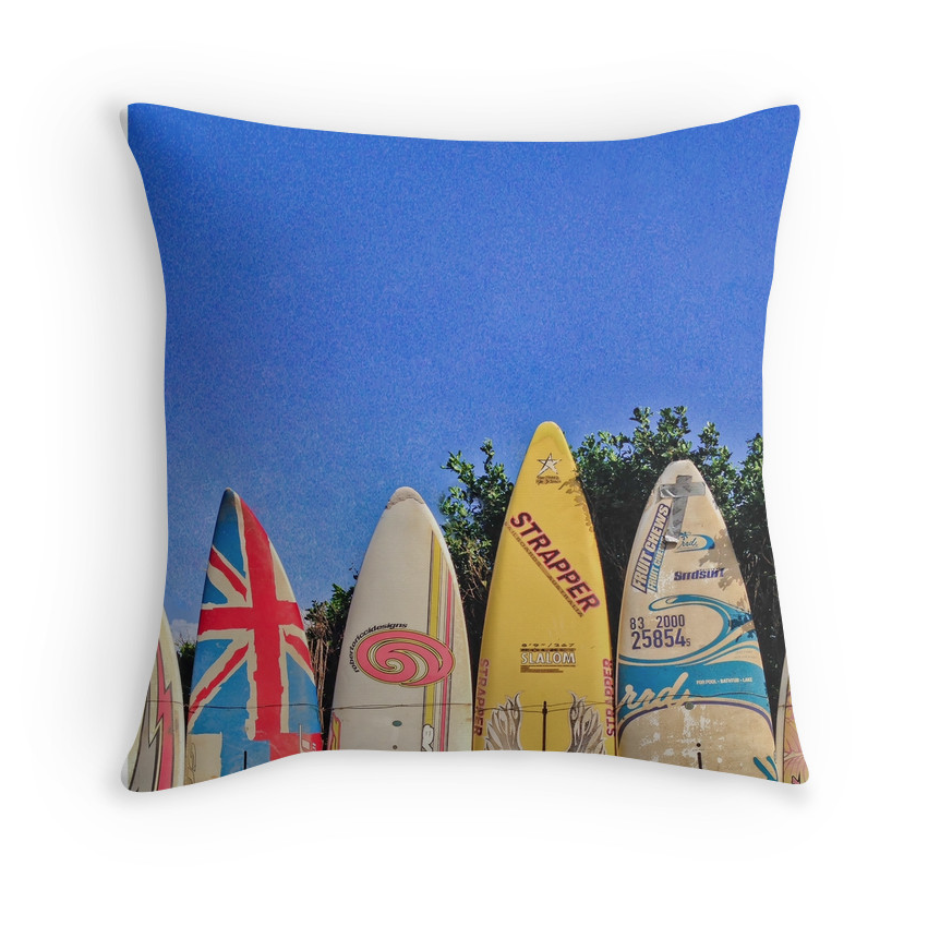 Hawaiian Surf Fence Pillow