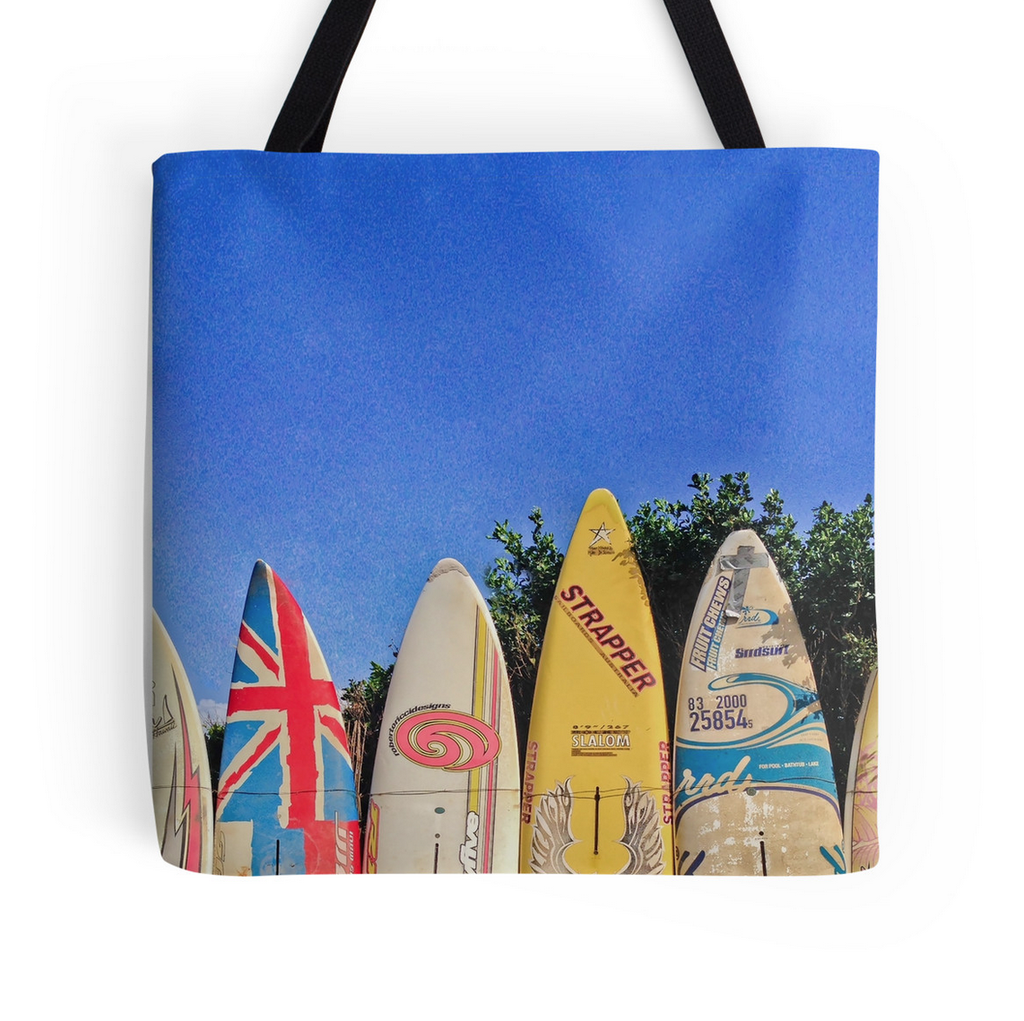 Hawaiian Surf Fence Tote Bag