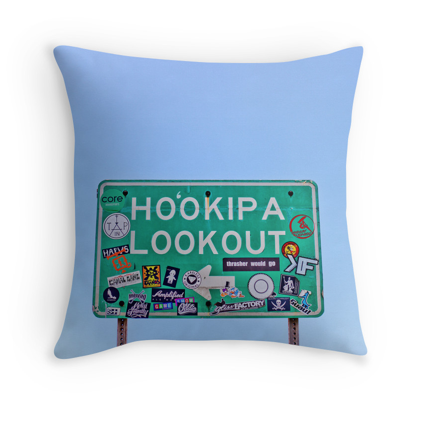 Ho'okipa Beach Sign Pillow