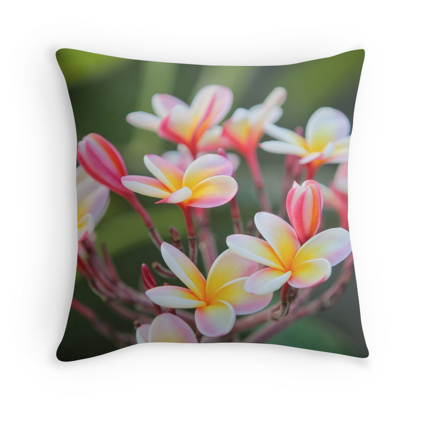Hot Pink Plumeria Pillow