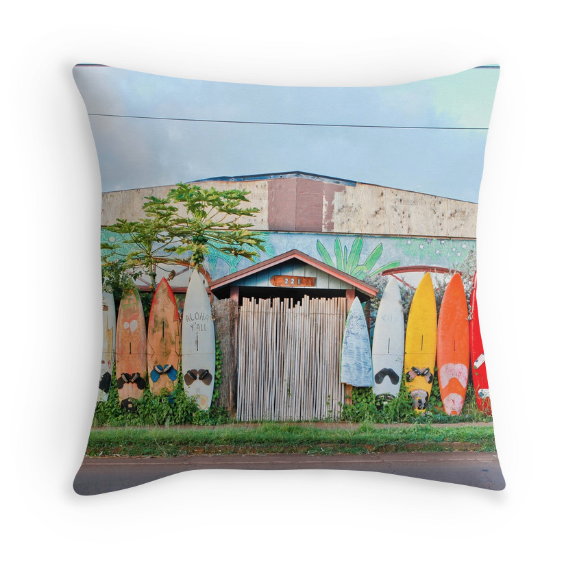 Paia Rainbow Surf Fence Pillow