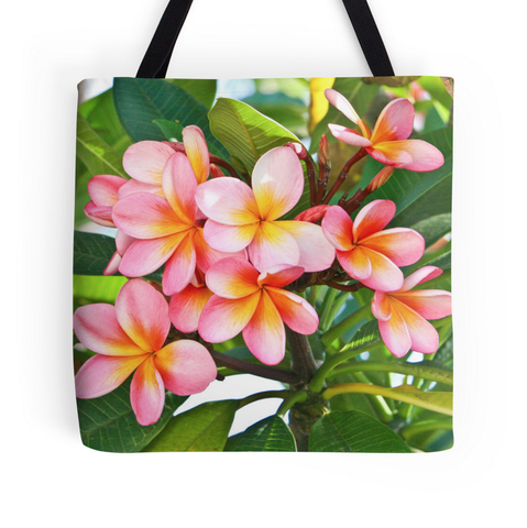 Pink Plumeria Tree Tote Bag