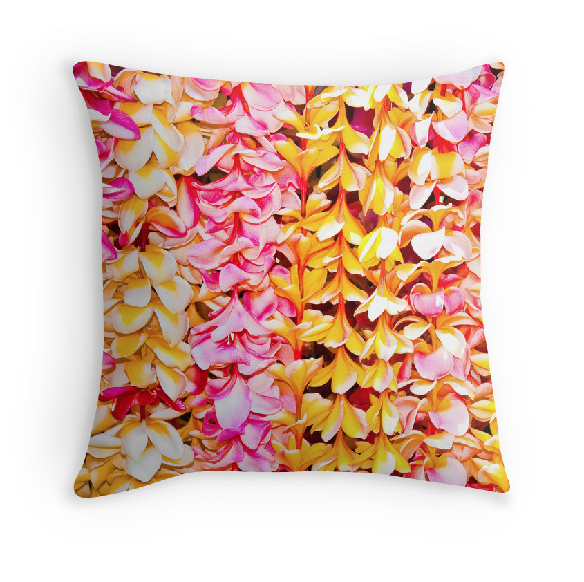 Pink and Yellow Plumeria Leis Pillow