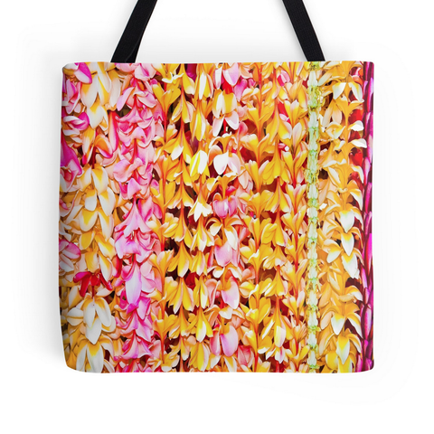 Pink and Yellow Plumeria Leis Tote Bag