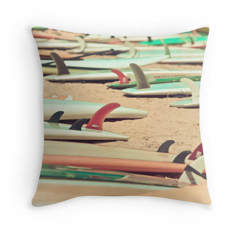 Retro Beach Surf Pillow