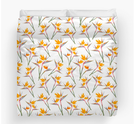 Bird of Paradise on White Duvet