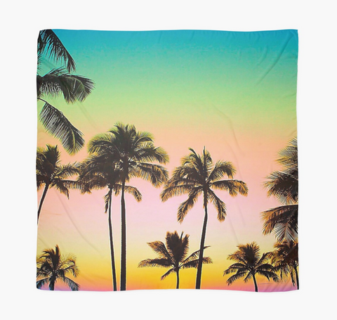 Neon Sunset Palms Sarong