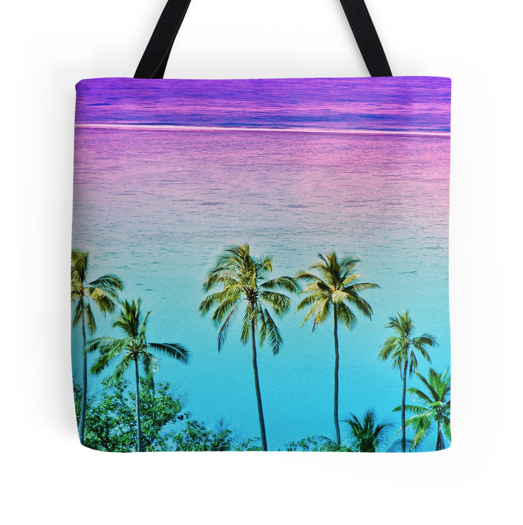 Moorea Sunset Palm Tote Bag