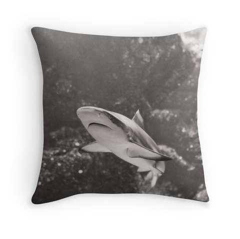B&W Smiling Shark Pillow