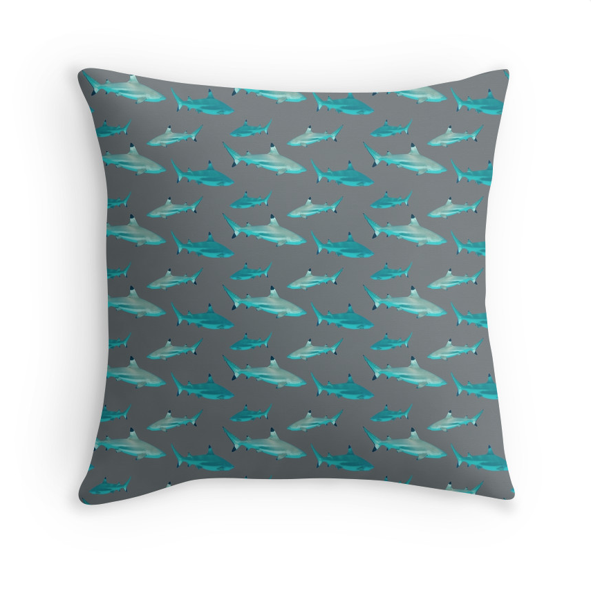 Tahiti Shark with Grey Pillow