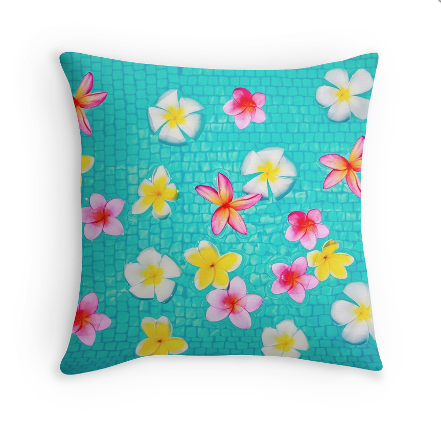 Colorful Floating Plumeria Pillow