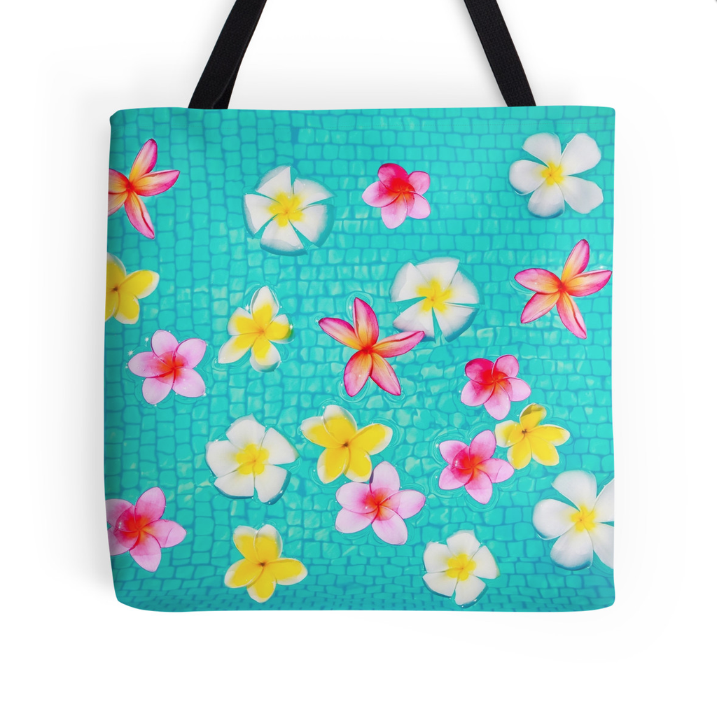 Colorful Floating Plumeria Tote Bag