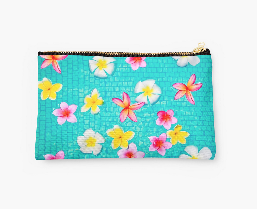 Colorful Floating Plumerias Clutch