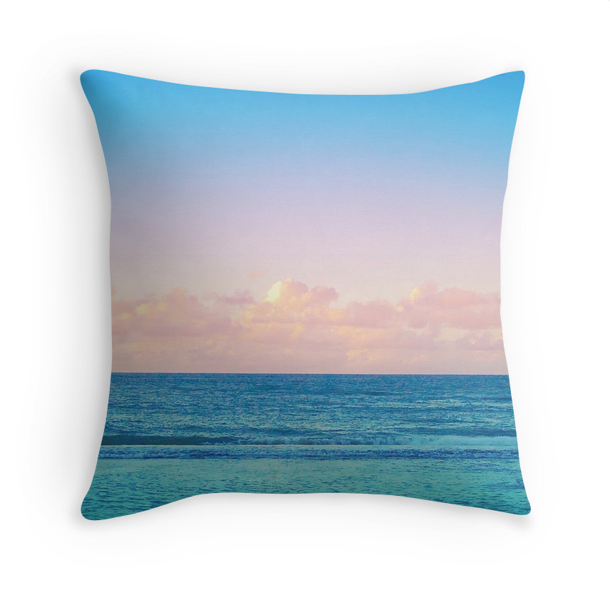 Cotton Candy Beach Sunset Pillow