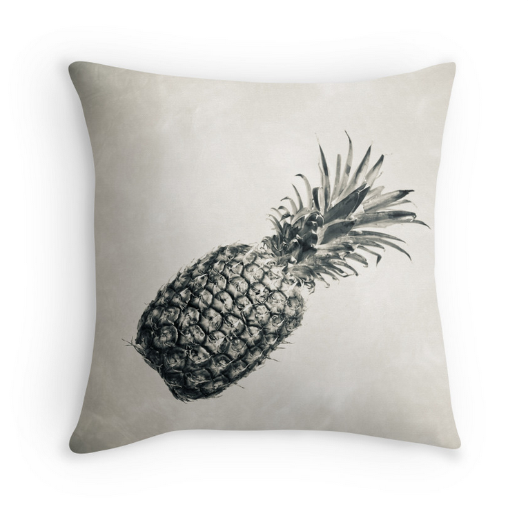Vintage Black & White Pineapple Pillow