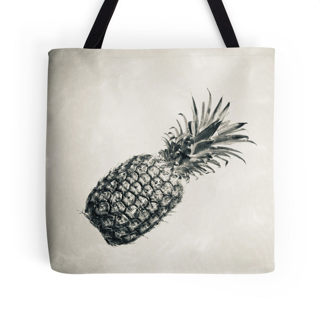 Vintage Black & White Pineapple Tote Bag