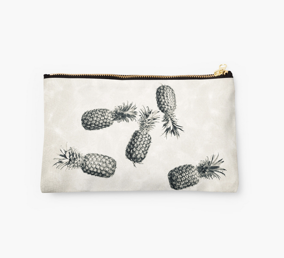 Vintage Black & White Pineapple Clutch