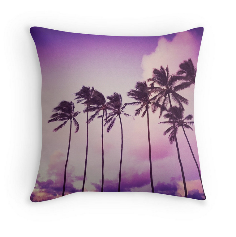 Purple Sunset Palms Pillow