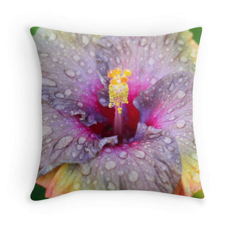 Purple Rainy Hibiscus Pillow