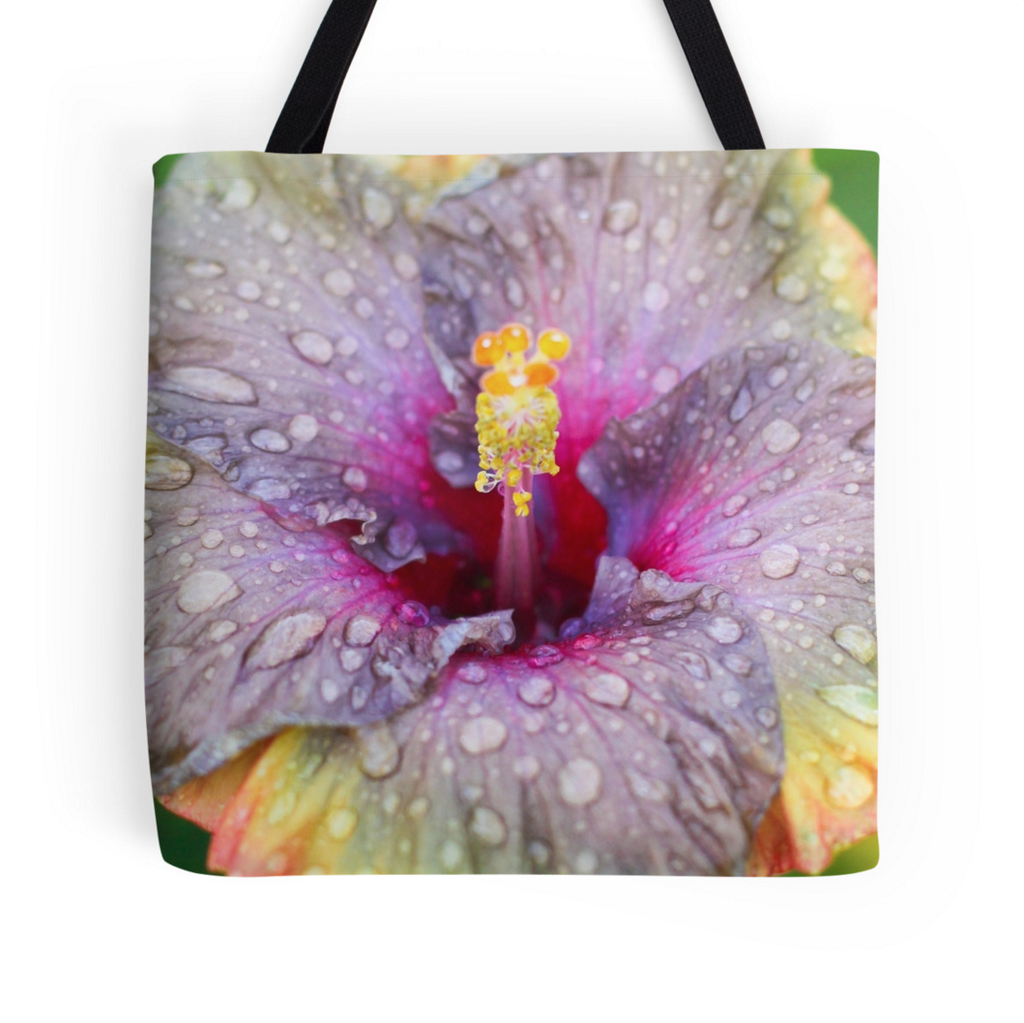 Purple Rainy Hibiscus Tote Bag