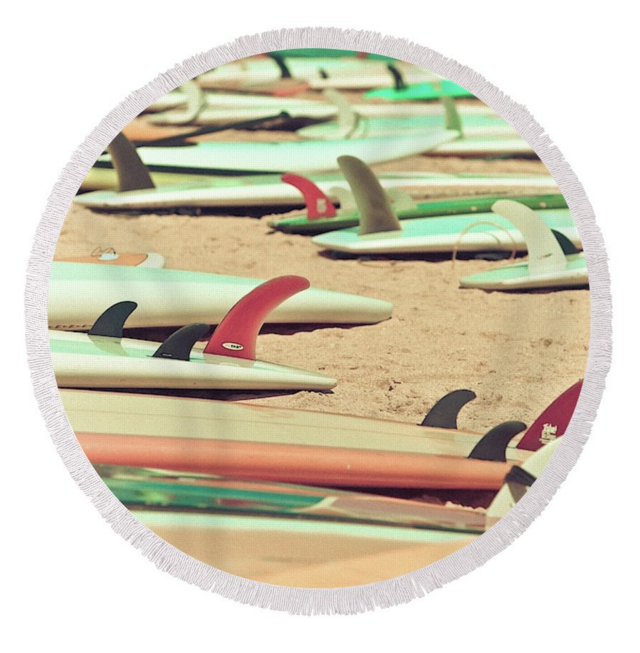 Retro Surf Fins Round Towel