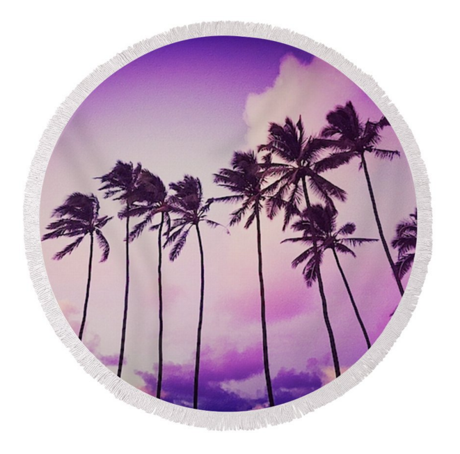 Purple Sunset Palms Round Towel