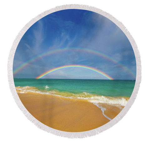 Double Rainbow Round Towel
