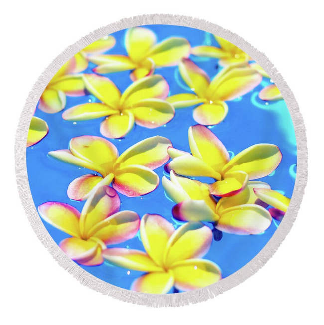 Yellow Floating Plumeria Round Towel