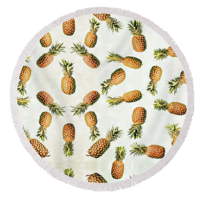 Vintage Pineapples Round Towel