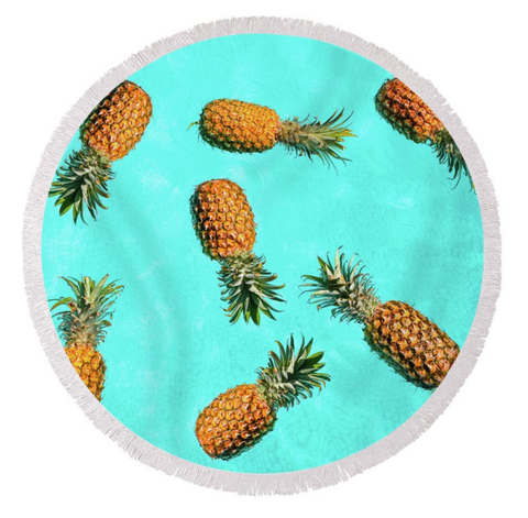 Aqua Pineapples Round Towel