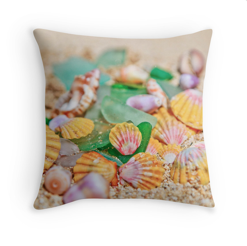 Soft Sunrise Shells Pillow