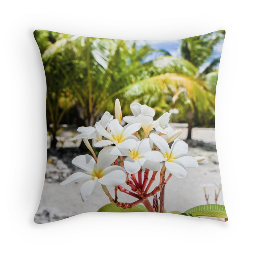 Tahiti Beach Plumeria Pillow