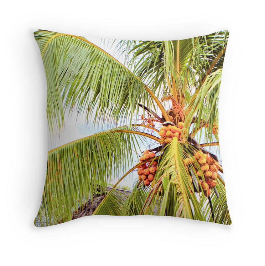 Tahitian Coconut Palms Pillow