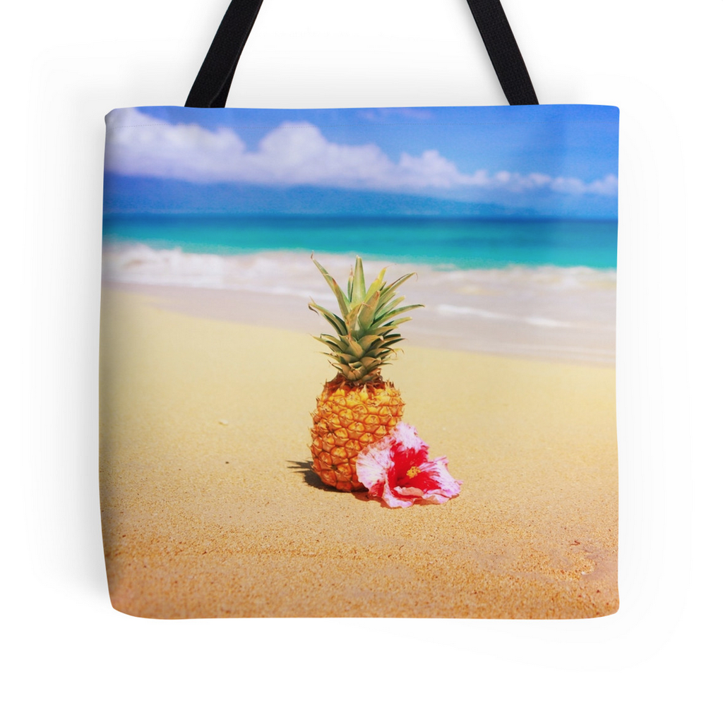 Tropical Beach Pineapple Tote Bag
