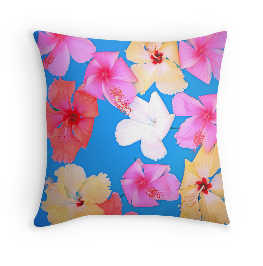Vibrant Floating Hibiscus Pillow