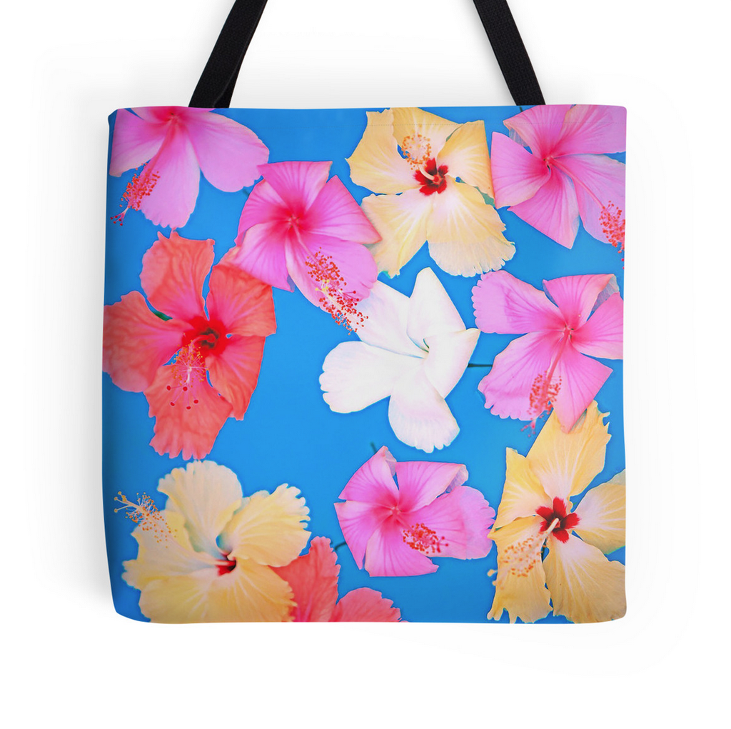 Vibrant Floating Hibiscus Tote Bag