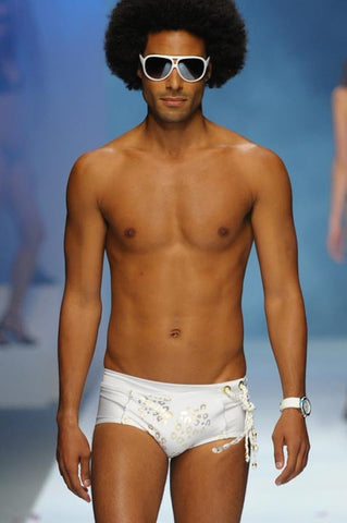 GLAMOURIZE - MENS WHITE SWIMSUIT TRUNK