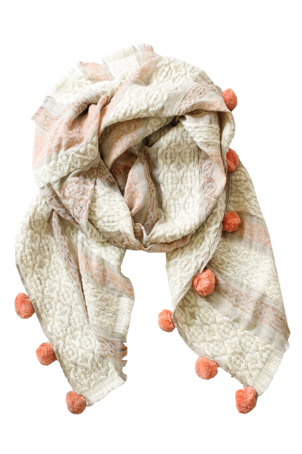 Ivory and Blush Pom Pom Scarf