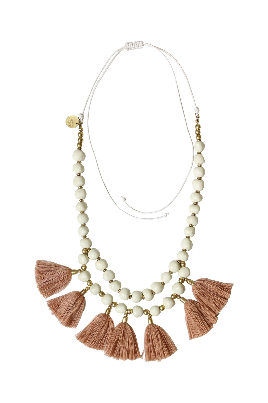 Stone Pebbled Tassel Necklace