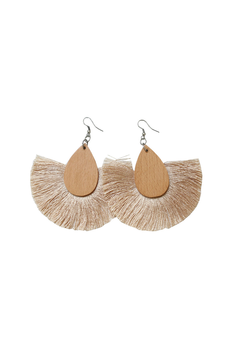 Wooden Tear Drop Earring