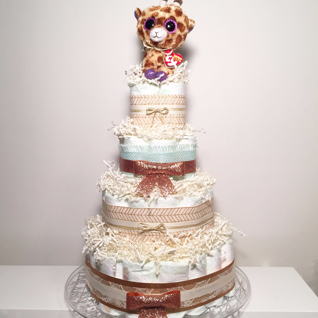 Diaperworks Suprise Cake- 3 Level- Copper and Gold