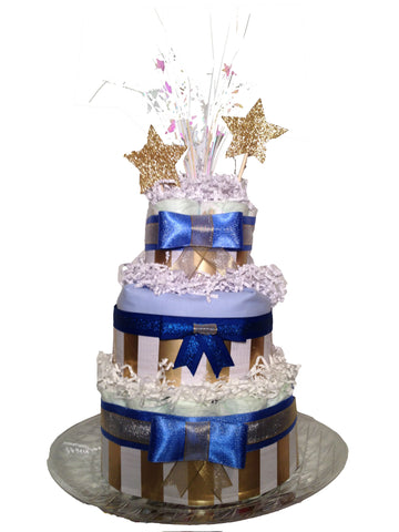 Diaperworks Surprise Cake- 3 Level - Blue and Gold Stars