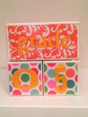 Nursery Photo Blocks- Orange Party