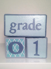 Nursery Photo Blocks- Aqua & Grey