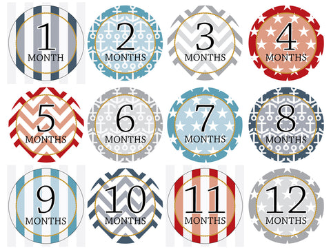 Month-by-Month Stickers {Nautical}
