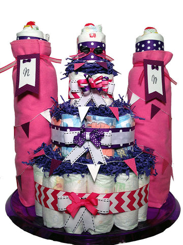 Happily Ever After Diaper Cake Castle- Baby Girl