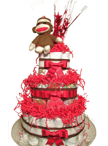 Diaperworks Suprise Cake- 3 Level- Sock Monkey