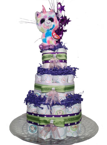 Diaperworks Surprise Cake- 3 Level -Purple Unicorn