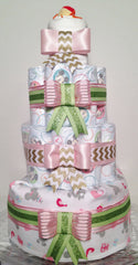 Vintage Pink and Green Diaper Cake